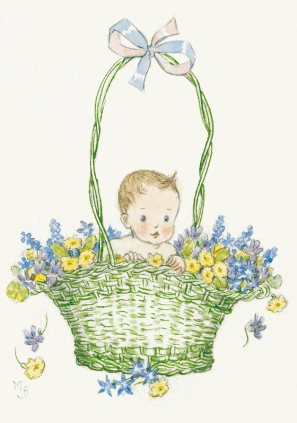 Baby in a green Basket of Flowers