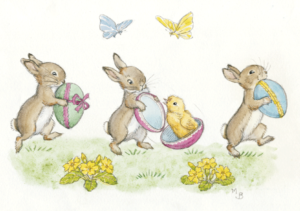 Three Rabbits with Easter Eggs