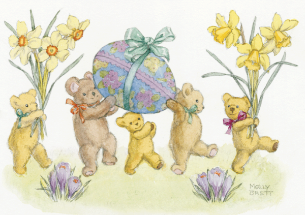 Five Teddy Bears with Daffodils and Easter Eggs