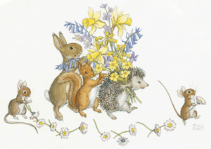 Rabbit, Squirrel, Hedgehog with a Bouquet of Springflowers