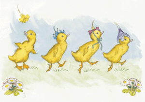 Four Ducklings wearing Flowers