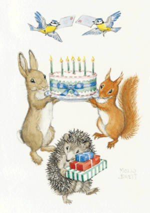 Rabbit and Squirrel holding Birthday Cake