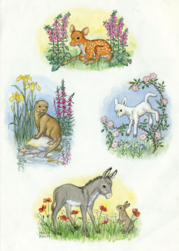 Composite design with fawn, otter, lamb and donkey