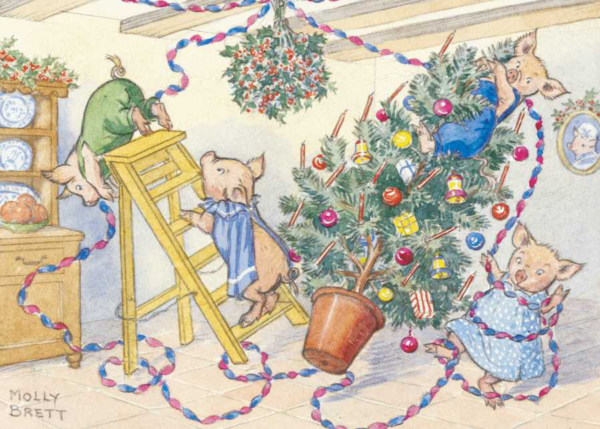 A family of pigs putting up Christmas decorations