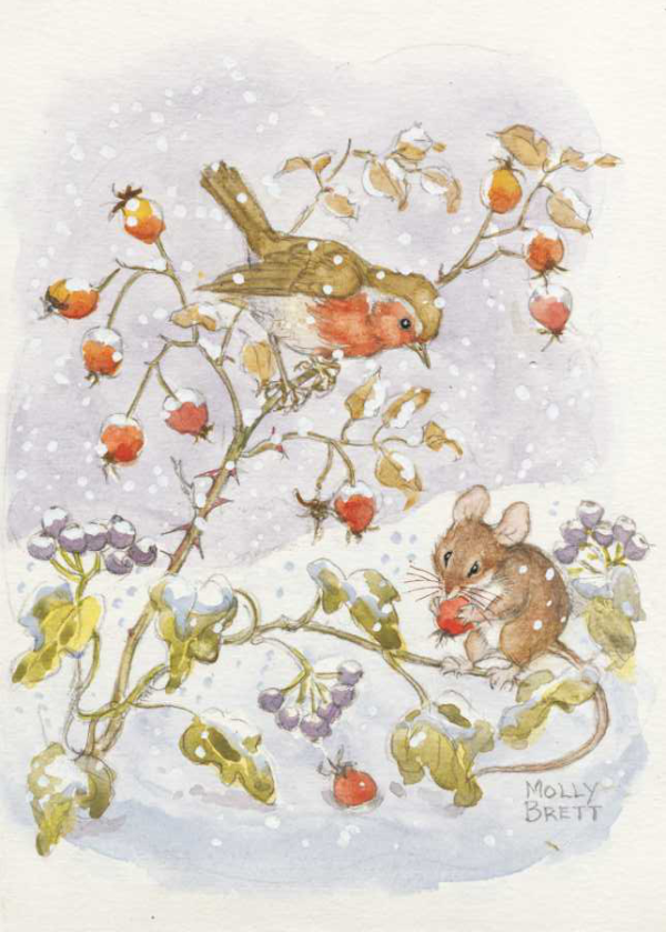 Robin and mouse, with reships and ivy in the snow